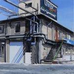 Épület óriásplakáttal, olaj-vászon, 45x45 cm, 2015