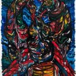 Bulls Licking Each Other's Face, 200×150 cm