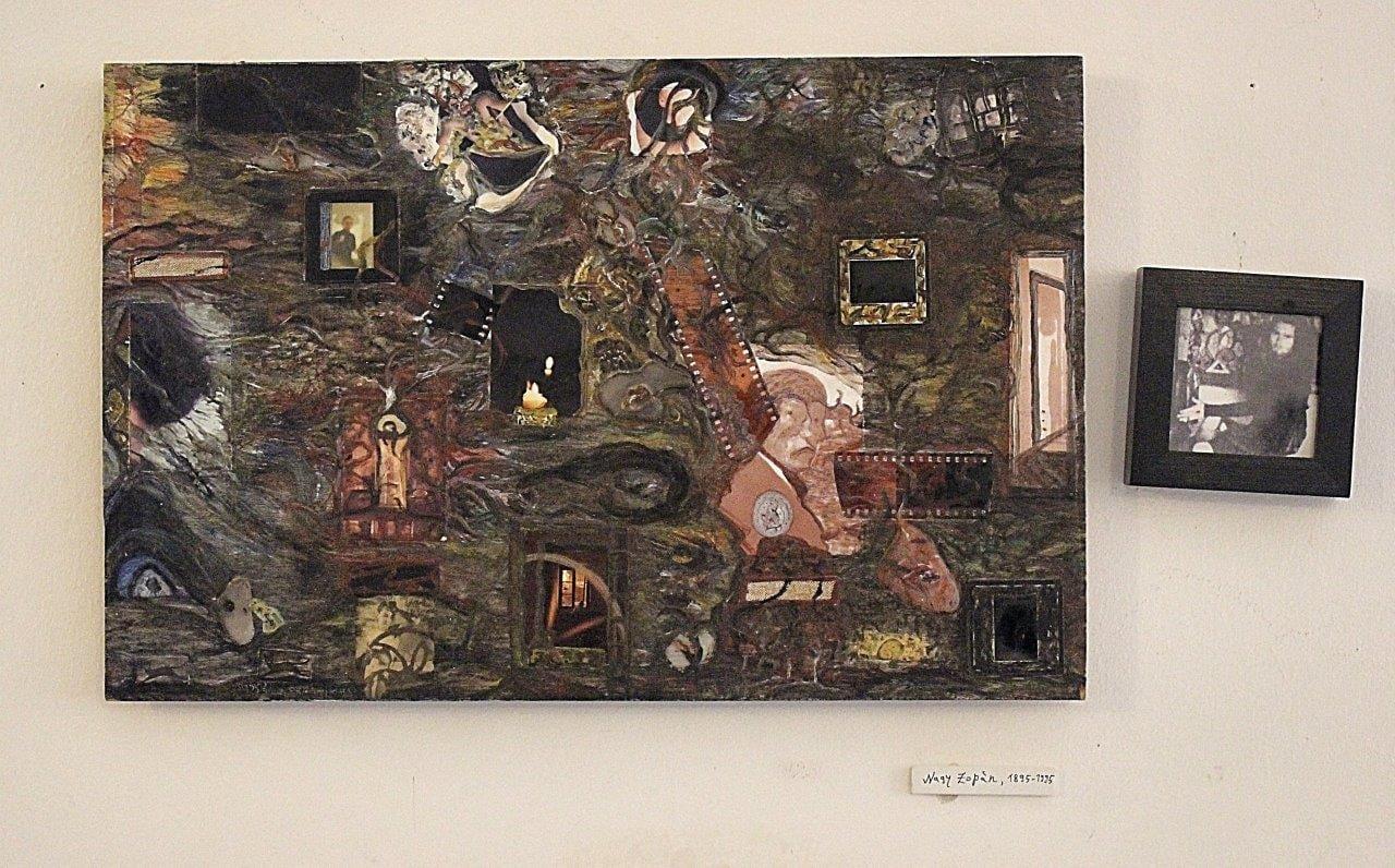Nagy Zopán: Organikus táj. Önkioldó, anno, 1895-1995, vegyes technika, tv-zúzalék, fa, 34×51,5cm + 11×11cm